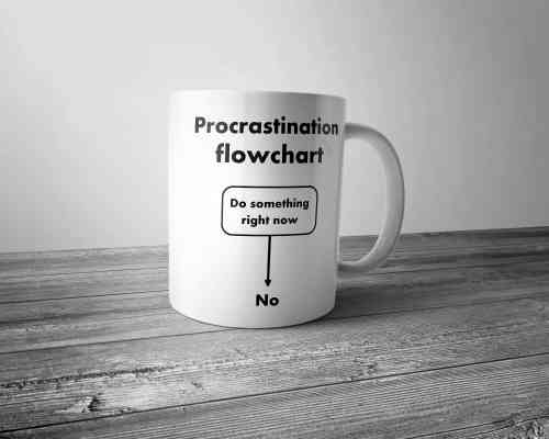 Procrastination Flowchart Mug