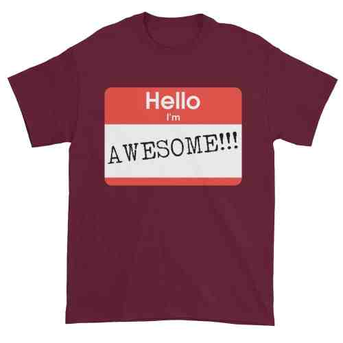 Hello, I'm Awesome T-Shirt (maroon)
