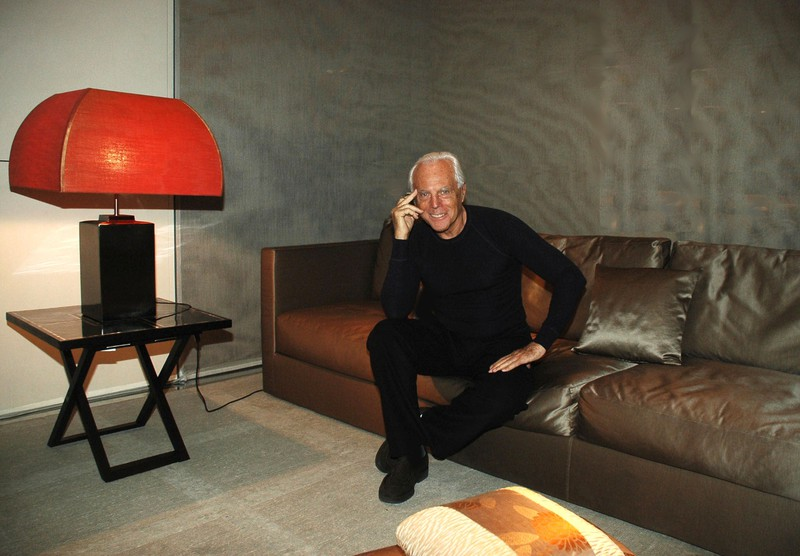 Fashion Designer GIORGIO ARMANI present his forniture collection in occasion of the party for the presentation of the Armani's Antigua House on the architectural magazine AD Italy. in the photo: Giorgio ARMANI Milan, dec 14 2006 ? Piero OLIOSI-G.Neri