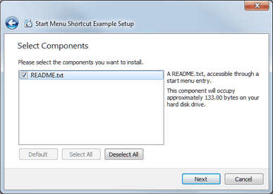 Start Menu Shortcut Example | Qt Installer Framework Manual