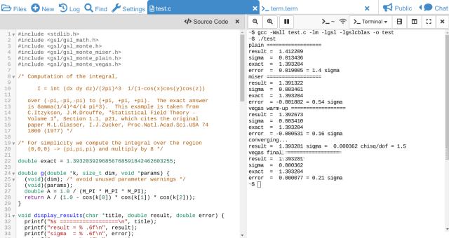 GSL C Code Compilation — CoCalc Manual documentation