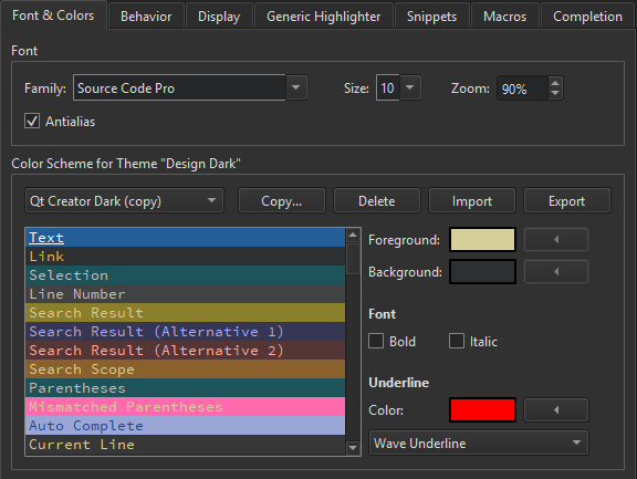Specifying Text Editor Settings | Qt Creator Manual