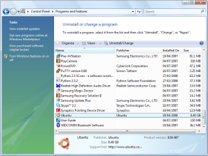 Section 'Uninstall a program' on Windows Vista