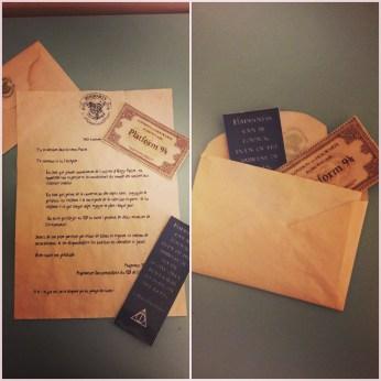 """Lettre remise (personnalisée) remise aux membres de la """"Team Potter"""""""