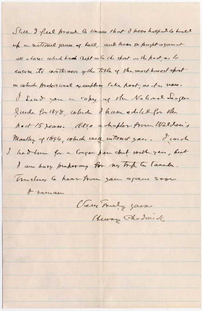 Henry Chadwick letter to Doc Adams dated Aug 16, 1898 (page 2) [Source: Manuscripts and Archives, Yale University Library]