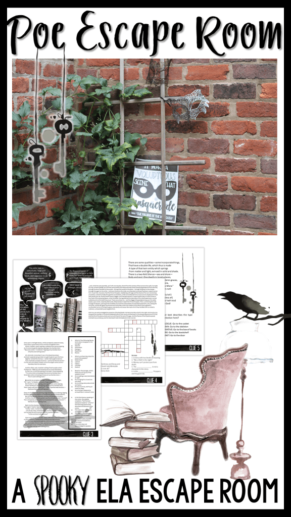 Try out this fun Poe them escape room to work with ANY work by Edgar Allan Poe!