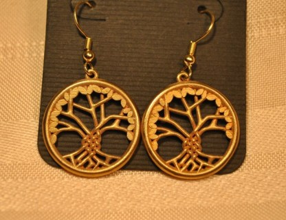 Tree of Life Earrings - Brass