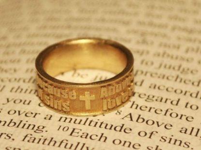 Bible Verse Ring Brass