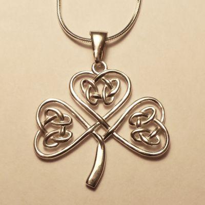 Shamrock Necklace White Brass