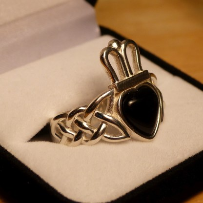 Silver Version of the Onyx Claddagh Ring
