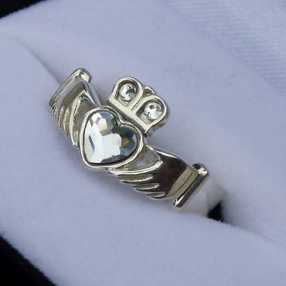 Clear Crystal Claddagh Ring
