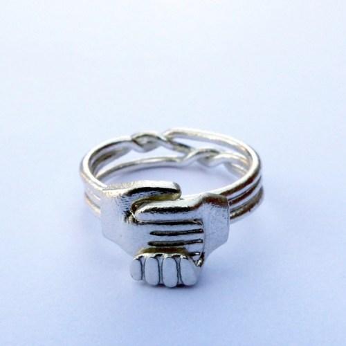 Silver Gimmel Ring - Interlocking Metals