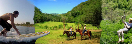 Surfing, Horseback, canopy collage of tours near Doce Lunas
