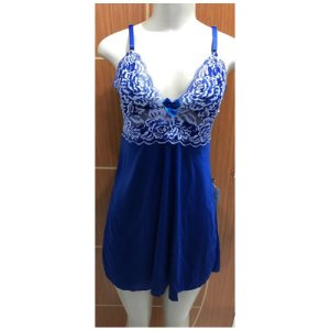 Camisola sexy s/ bojo c/ calcinha luxo conforto – tam M – Azul