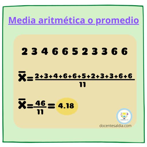 Ejemplo de media aritmética o promedio