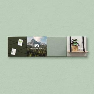 Dock Four groene wanddecoratie voor woon- & slaapkamer, grote combinatie 6