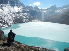The sacred green glacial Gokyo Lake.