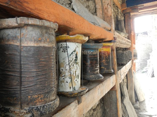A novel use of cans doubling up as prayer wheels in Manang