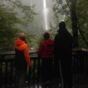 Students perform an impact assessment on the Humboldt Falls Track.