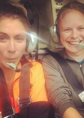 Sian and Rose depart in the helicopter for a day of kiwi hunting.