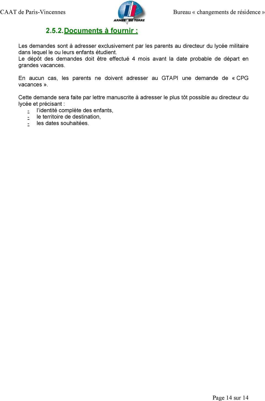 CAAT De Paris Vincennes Bureau Changements De Rsidence