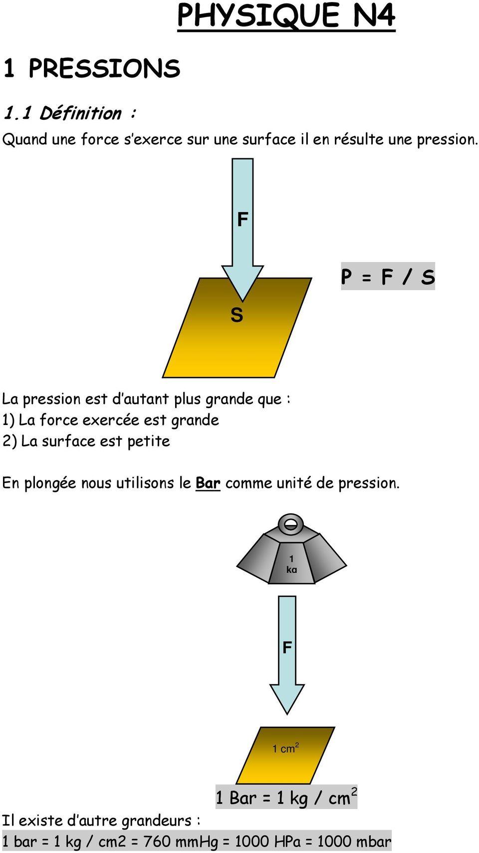 Physique N4 1 Pressions P F S 1 1 Definition 1 Bar 1 Kg Cm 2 Quand Une Force S Exerce Sur Une Surface Il En Resulte Une Pression Pdf Free Download