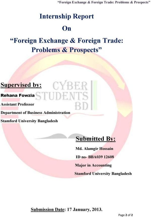 INTERNSHIP REPORT FOREIGN EXCHANGE & FOREIGN TRADE ...