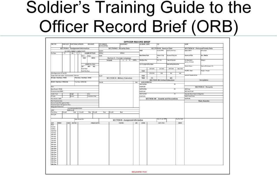 Army Officer Record Brief Example