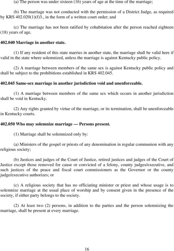 County Clerks' Guide. Kentucky Marriage Law - PDF