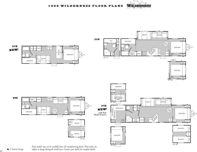1999 Fleetwood Wilderness Travel Trailer Floor Plans