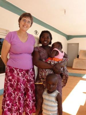 Poppy Spens with one of the two midwife candidates, Yei October 2013