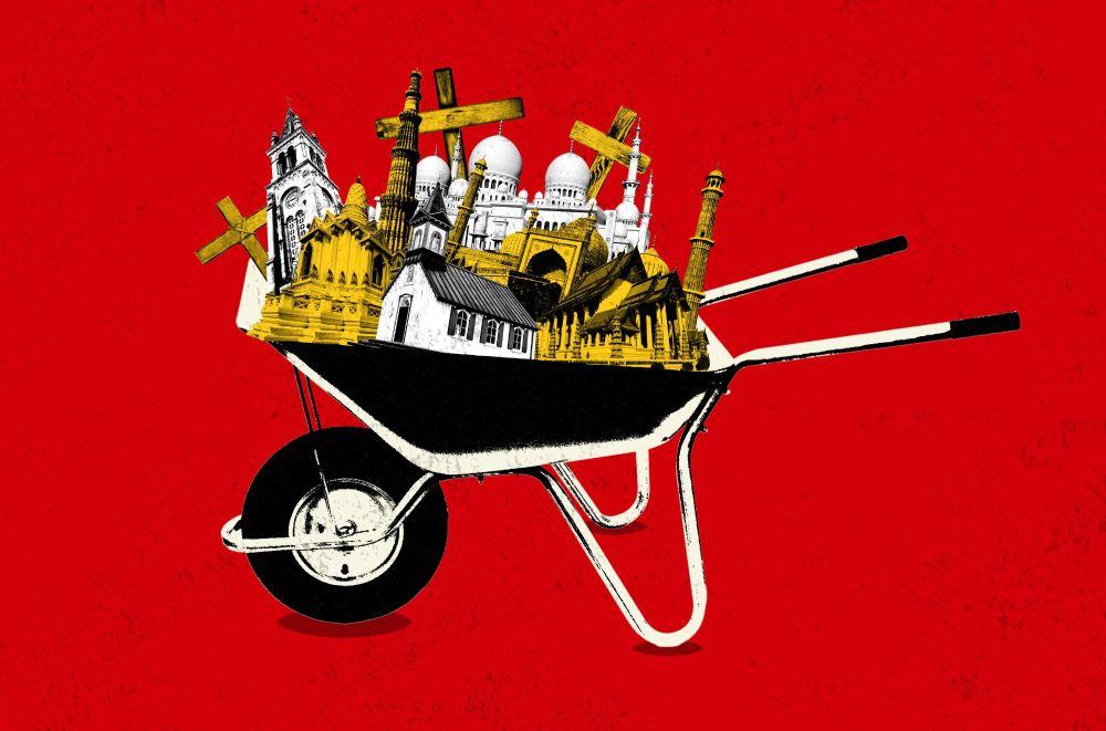 Illustration of religious buildings in a wheelbarrow
