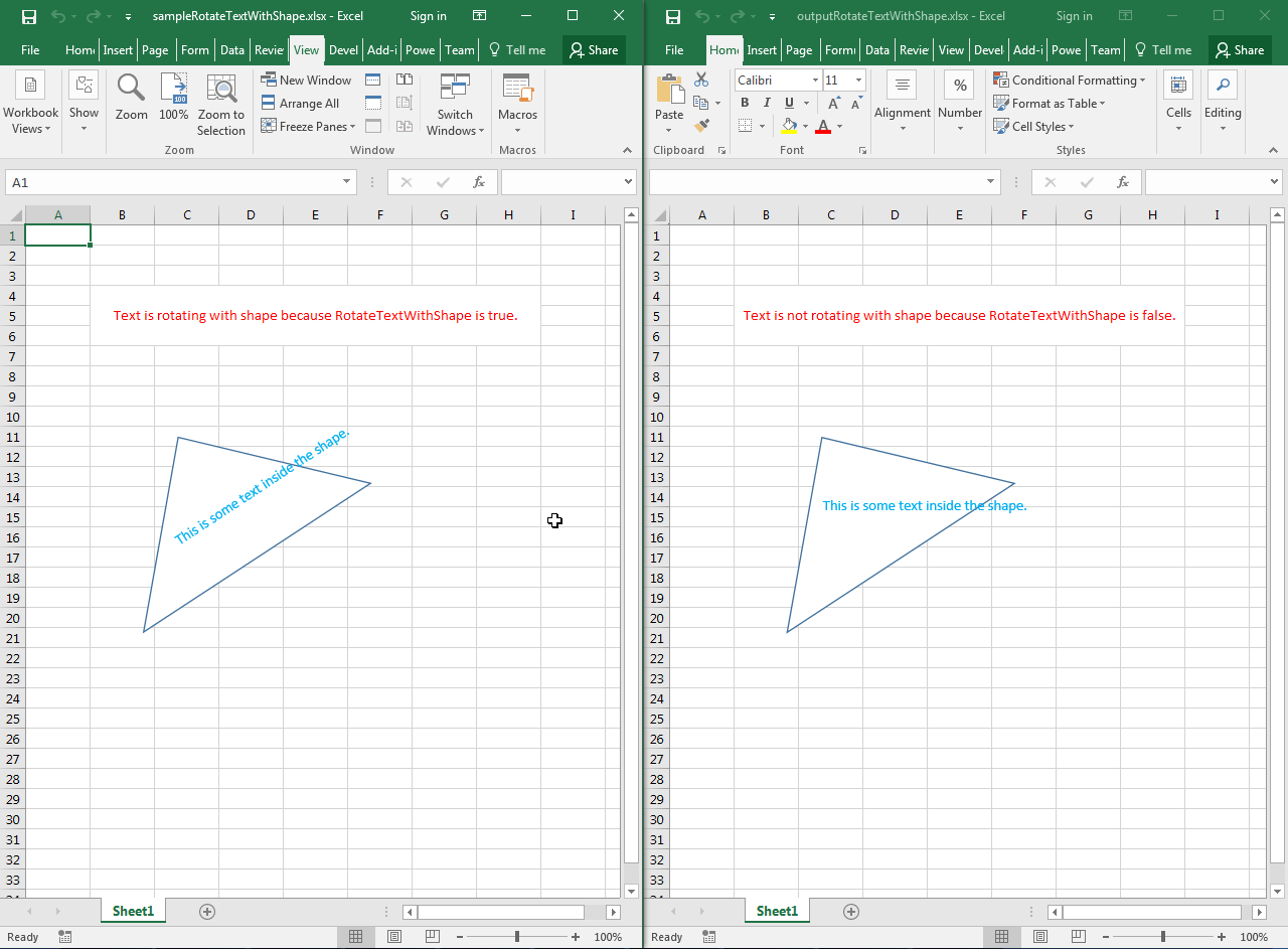 Rotate Text With Shape Inside The Worksheet