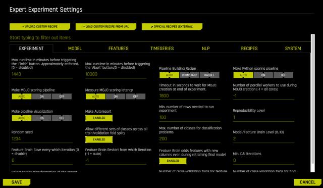 Expert Settings — Using Driverless AI 228.28.2280 documentation