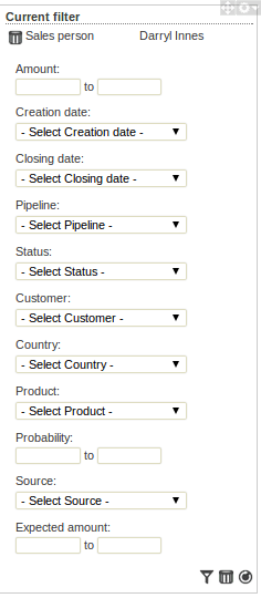 Filter panel of the sales dashboard example