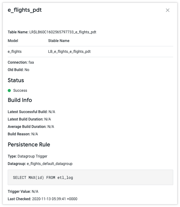 admin settings persistent derived tables