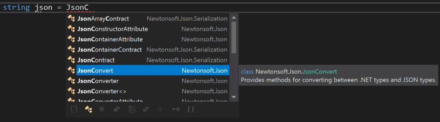 Intellisense completion for unimported types
