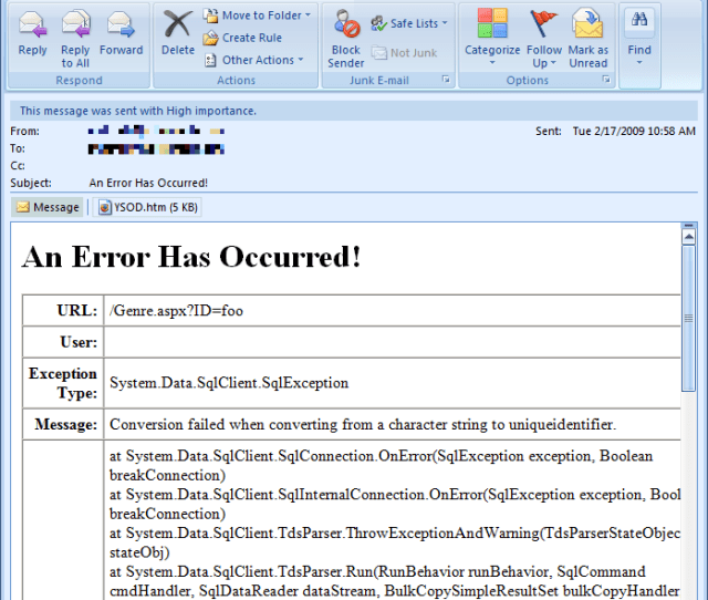 Figure 2 The Developer Is Sent An Email Notification Whenever Theres An Unhandled Exception