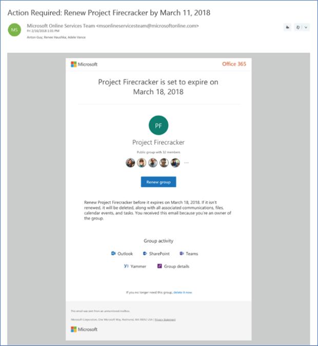 Expiration email notification