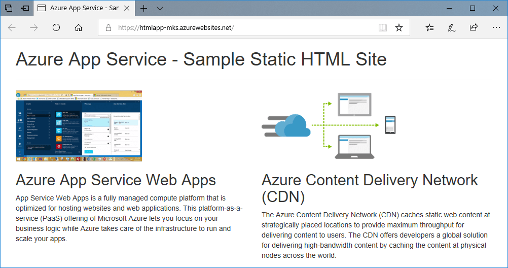 Home page of sample app