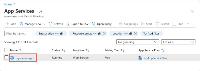 Portal navigation to Azure app
