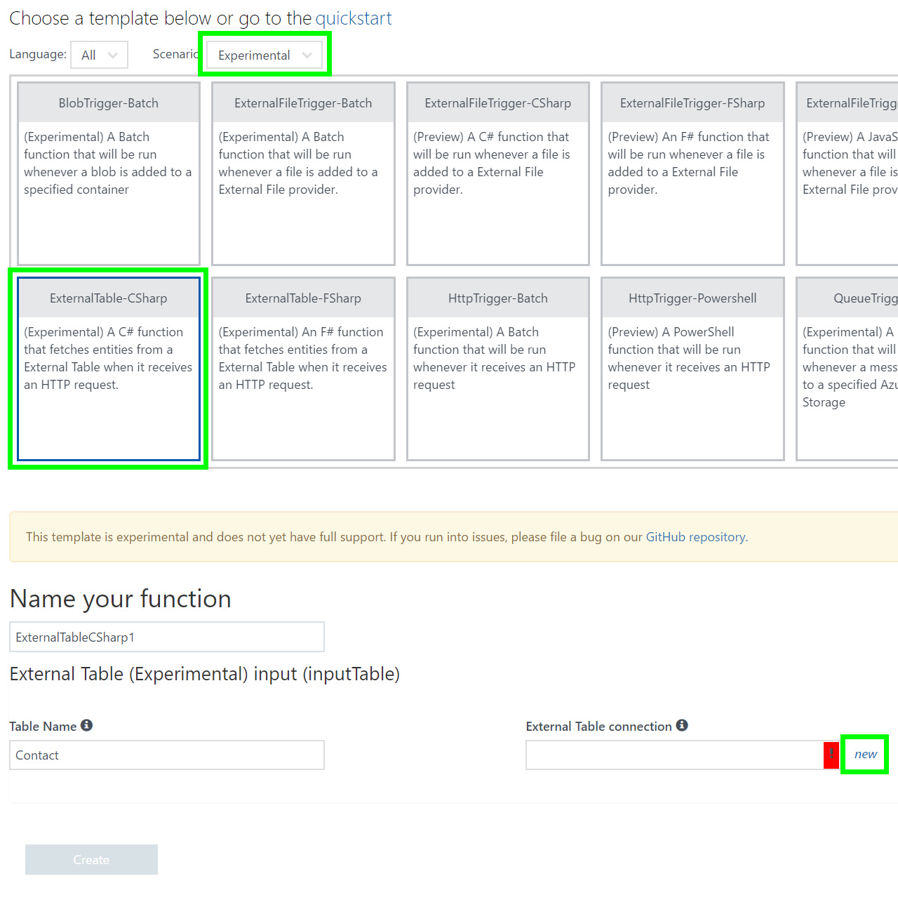 Azure Functions External Table Binding Preview