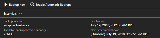 Azure Stack - confirm backups have been disabled
