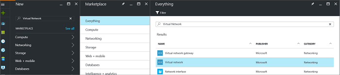 Locate Virtual Network resource page