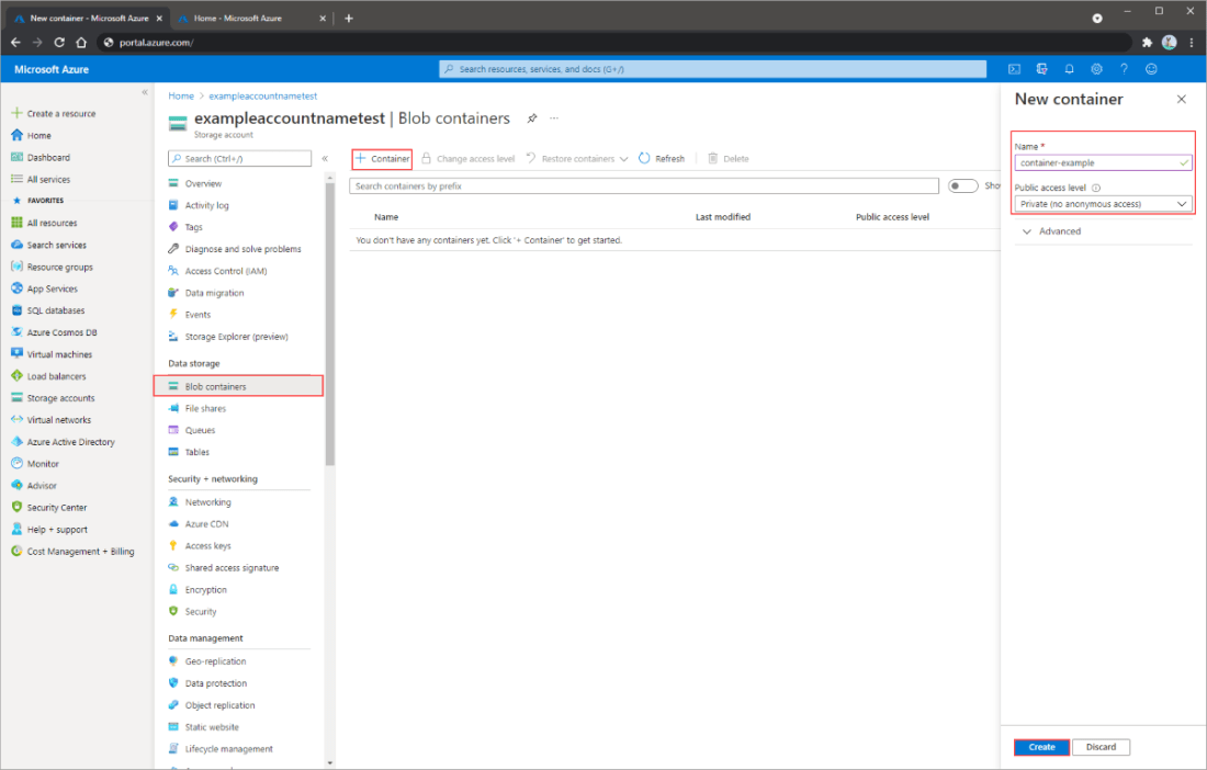 Screenshot showing how to create a container in the Azure portal