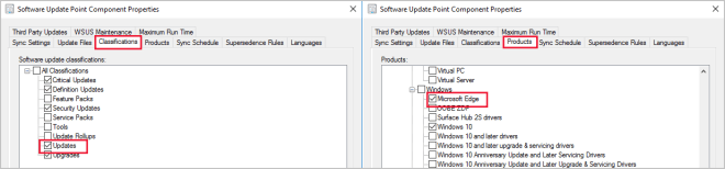 Select Microsoft Edge as product in software update point properties
