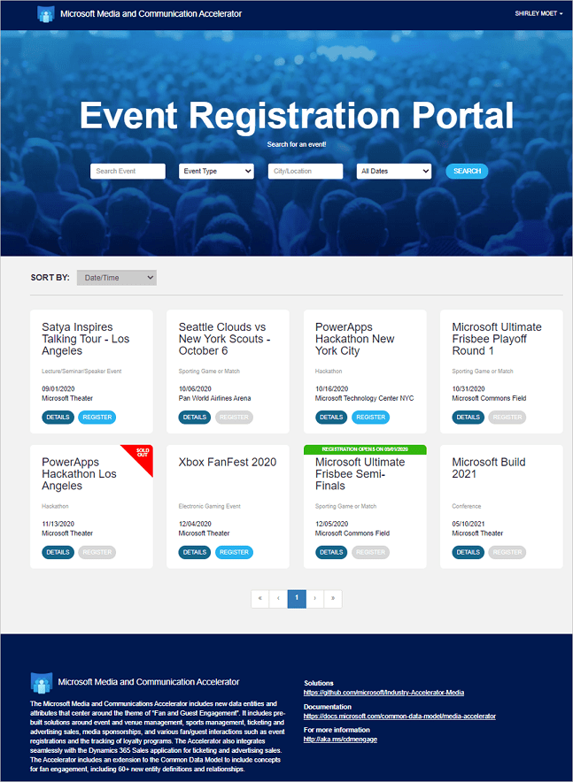 Image of the event registration portal: Industry Accelerator for Media & Entertainment