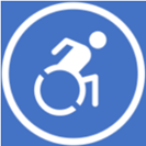 A stylised image of a person in a wheelchair, representing mobility