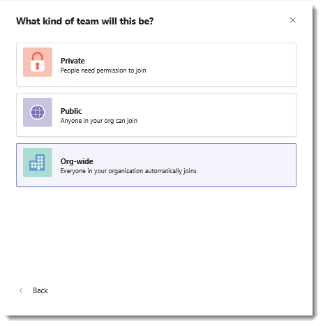 Screen shot of the Org-wide option to create an org-wide team