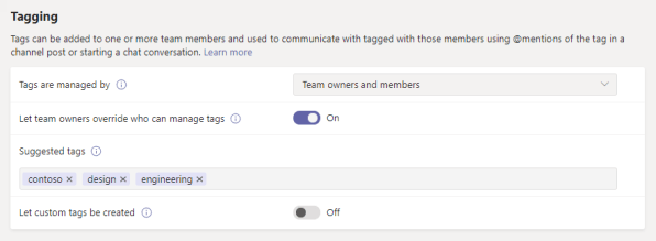 Screenshot of tagging settings in the Microsoft Teams admin center